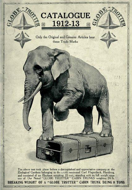 象が乗っても壊れないグローブトロッターのチラシ
